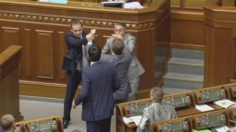 Ukraine parliament comes to blows July 23, 2014