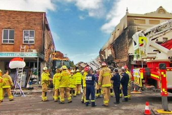 The space left in a row of shops following an explosion at a convenience store in Rozelle, Sydney