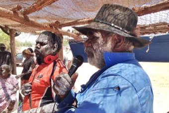 Borroloola elder Jack Green (right) at the McArthur River mine protest.