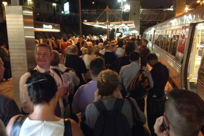 Commuters at Bowen Hills train station still trying to get home at 7.20pm on Wednesday night.