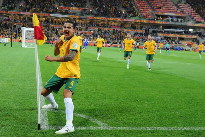 Tim Cahill celebrates his goal against Kuwait