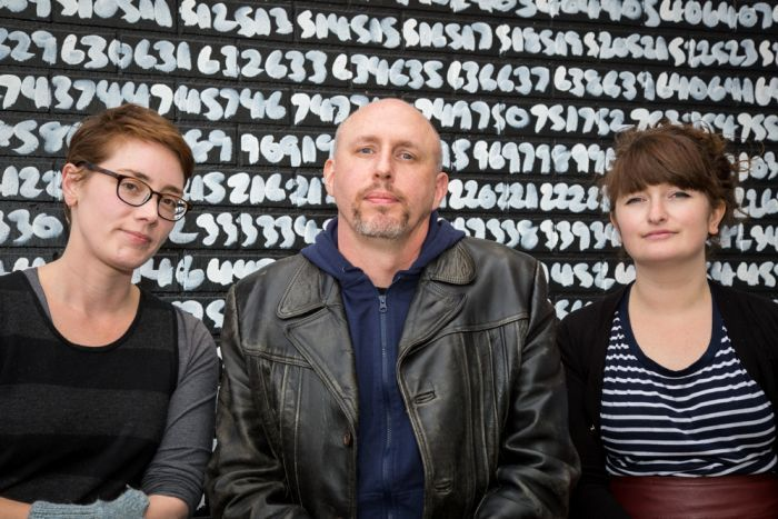 Contemporary Art Tasmania podcast producer Briony Kidd (left), curator Matt Warren and podcast creator Pip Stafford (right) are getting ready to launch the second episode of the new podcast series What are you looking at?