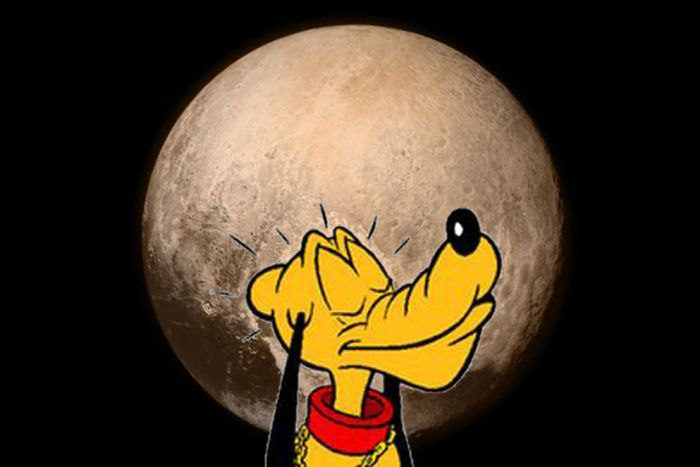 New Horizons Pluto picture with cartoon Pluto