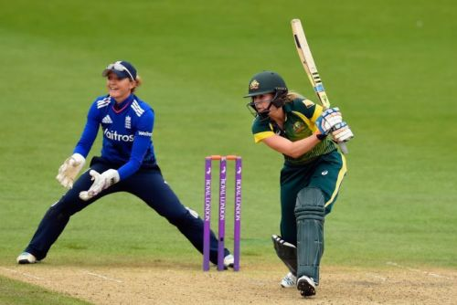 Ellyse Perry drives during the third Women's Ashes ODI