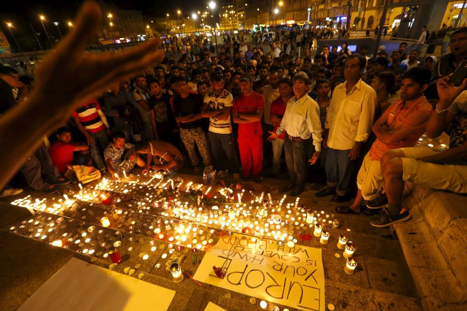 Vigil in Budapest for refugees who died in a truck between Hungary and Austria