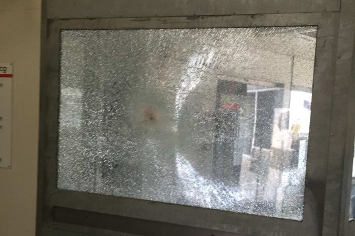 Smashed window at Christmas Island detention centre