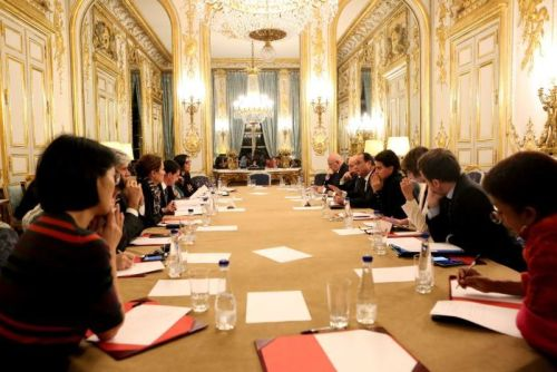 Francois Hollande addresses an emergency meeting at the Elysee Palace