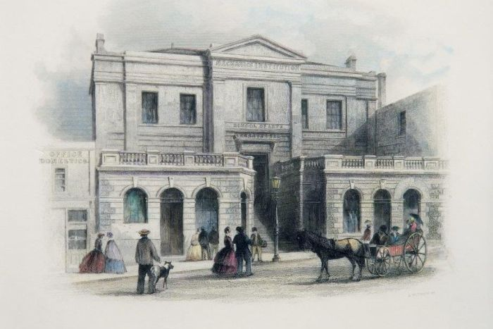 A shaded line drawing of a large stone building, people, dog and horse-drawn carriage.
