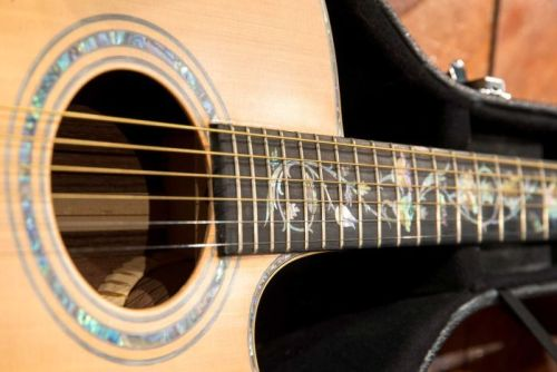 Detail of pearl inlay on guitar donated to Tasmania's Conservatorium of Music.