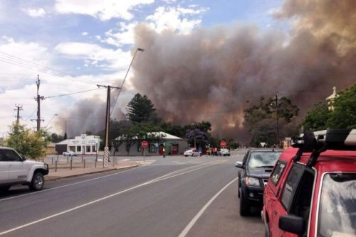 A view from Mallala as a bushfire burns near the town