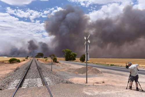 bushfire and rail line north of Adelaide