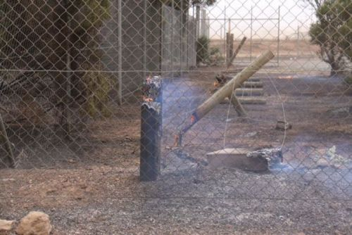 Fence posts on fire at Mallala