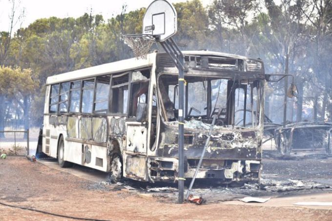 Bus burnt out