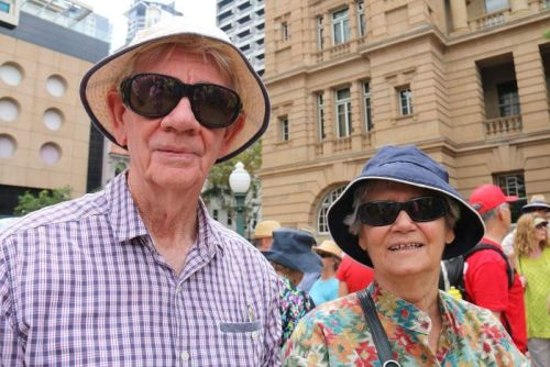 Ray and Robin McGuire came from Ipswich to attend the Brisbane climate rally.
