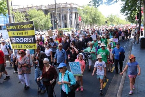 Protestors march at a climate change rally in Adelaide.
