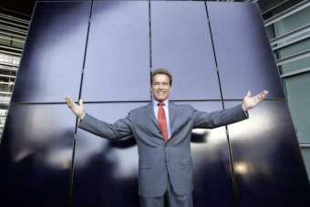 Arnold Schwarzenegger with solar panels