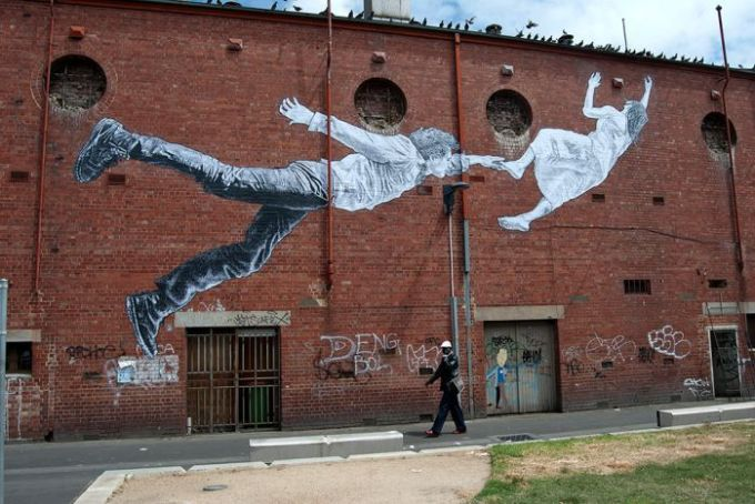 Street art by Baby Guerrilla in Footscray's Madden Square