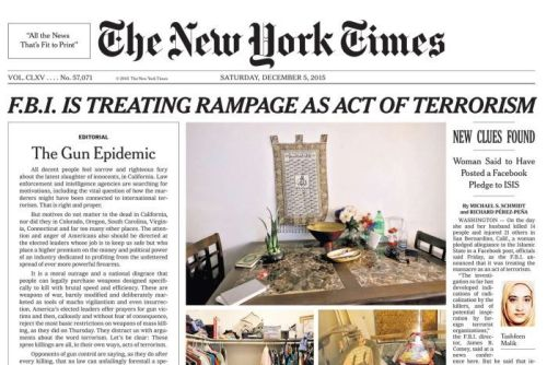 New York Times front page for December 5, 2015