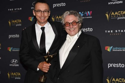 Australian director George Miller and producer P.J. Voeten after winning the AACTA for Best Director and Best Film for Mad Max Fury Road