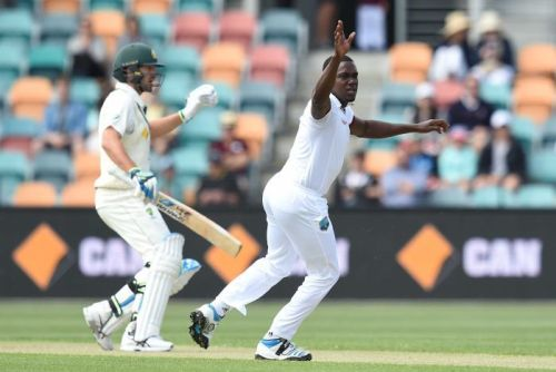 West Indies bowler Jerome Taylor makes an appeal