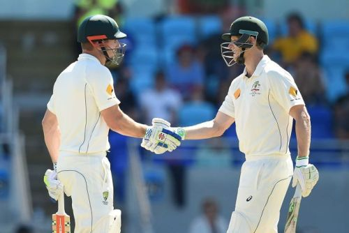Voges congratulates Shaun Marsh on half century
