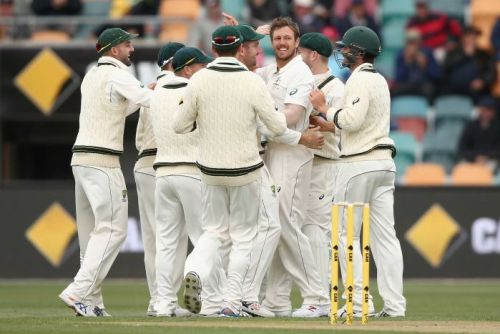 Australia celebrates another James Pattinson wicket