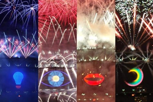 Composite of the symbols used on New Year's Eve 2014, 2013, 2012, 2011.