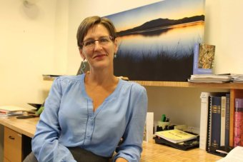 Greens leader Cassy O'Connor in her Hobart office