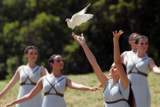 A dove is released at the rehearsal of the lighting of the Olympic torch
