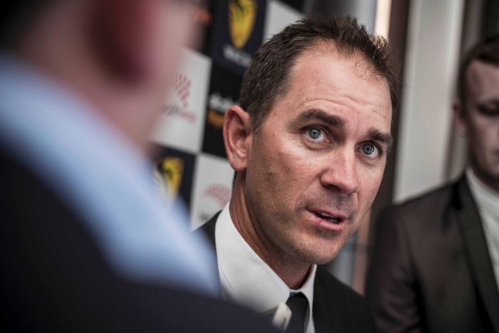 Supplied image of coach of the Perth Scorchers, Justin Langer speaking to the media in 2015.