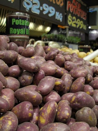 Potatoes in a fruit market