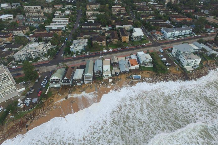 Drone footage of damage at Collaroy beach.