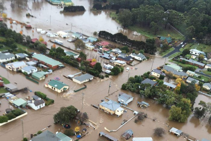 Latrobe in Tasmania's north was inundated as the river burst its banks.