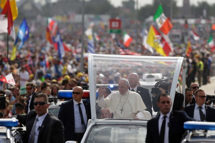 Pope Francis greets faithful in Poland.