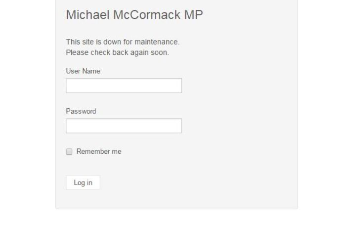 "Michael McCormack's site with the text ""the site is down for maintenance"""