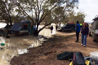 A flooded campsite outside Birdsville