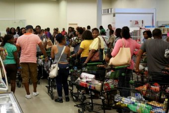 Jamaicans stock up with supplies ahead of Hurricane Matthew.