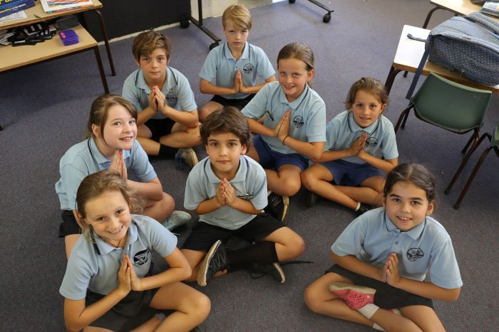 Students meditating at Byron Bay Public School
