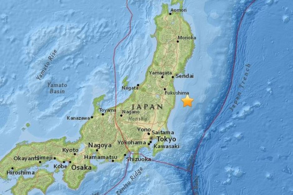 Fukushima earthquake map