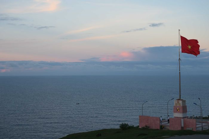 The Vietnamese flag flies above the east coast of Ly Son island, looking out towards the Paracels and Spratlys.