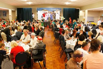 Crowd at Colony47 Christmas Day charity lunch, Hobart 2016.