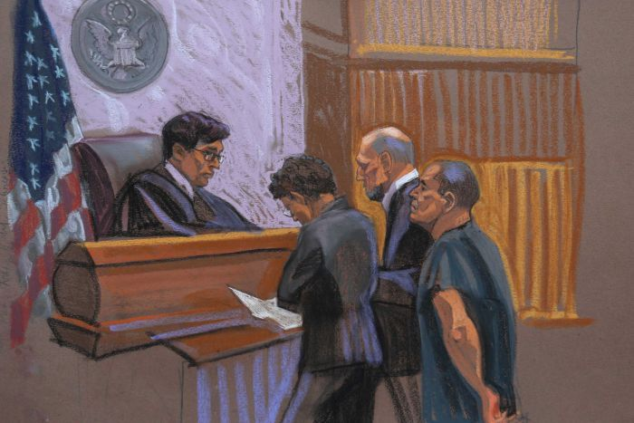 A sketch of El Chapo in court.