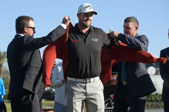 Marc Leishman during the trophy presentation after winning the Arnold Palmer Invitational in Orlando.