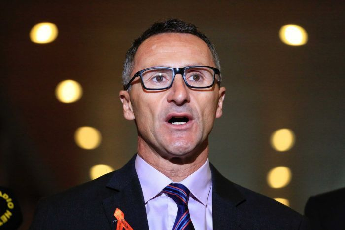 Greens Party leader Richard Di Natale mid-sentence speaking to parliament house reporters