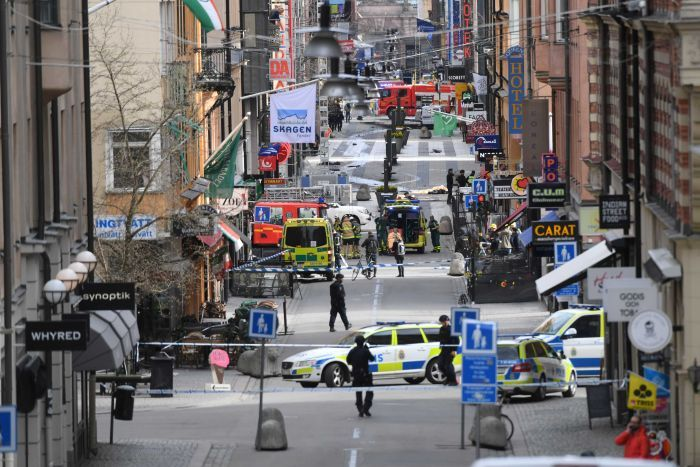 A view of the street scene after people were killed when a truck crashed into a department store in Stockholm. April 7, 2017