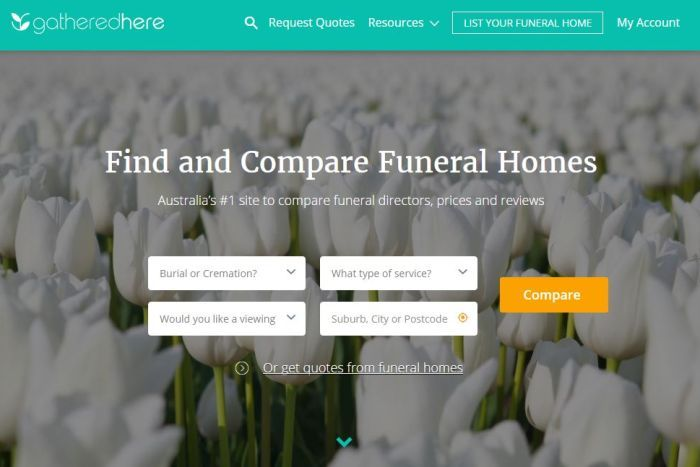 Funeral Home Comparing Website Gathered Here Homepage