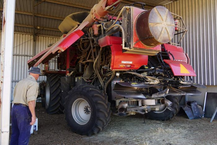 Ray Harrington with his harvester and seed destructor
