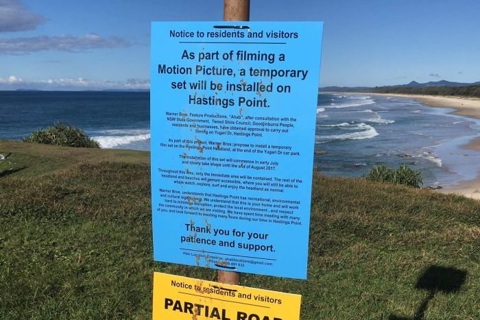 A notice informing Hastings Point residents of a film set for Aquaman by Warner Brothers.