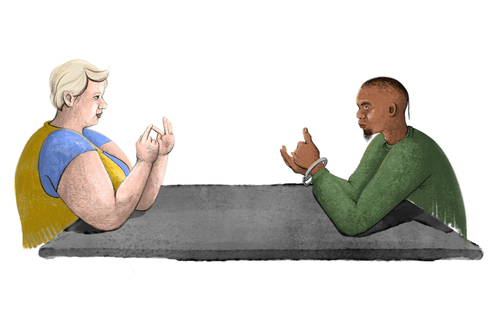 Illustration of blond woman sitting across from Indigenous inmate in prison.
