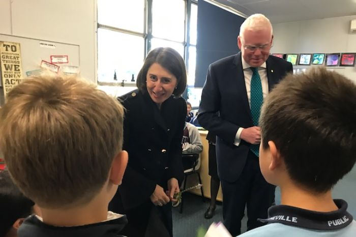 Gladys Berejiklian meets students at Gwyneville Public School, Wollongong, July 2017.